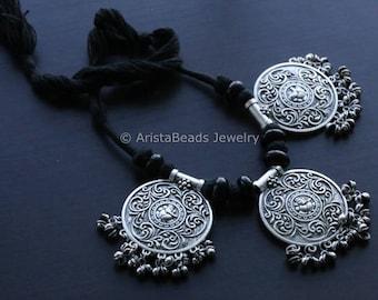 Ganesh Necklace, Tribal Necklace, Gypsy, Oxidized Necklace, Statement Necklace, Fringe Necklace, Bib necklace, Kutchi Jewelry