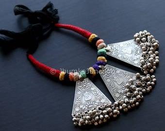 Vintage Look Necklace, Tribal Necklace, Gypsy, Oxidized Necklace, Statement Necklace, Fringe Necklace, Bib necklace, Kutchi Jewelry