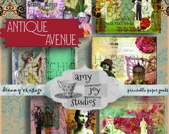 Antique Avenue  1920s journal kit  great gatsby  printables  art deco paper  Junk Journal Vintage  Ephemera Pack  printable journal kits