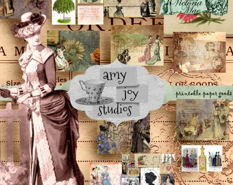 Victoria Mae  Victorian Journal Kit  Printable Junk Journal  Mini Album  Digital Journal Paper  Ephemera Vintage  Shabby Chic  Vintage Women