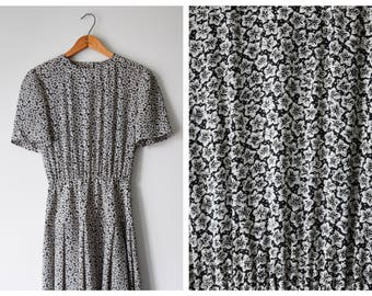 90s floral print A-line dress | S