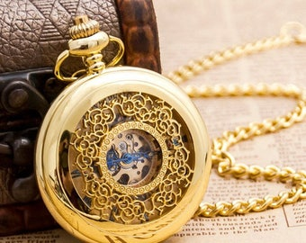 1 Gold Mechanical Pocket Watch Necklace Wedding Gift -C111