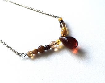 Necklace amber glass drop