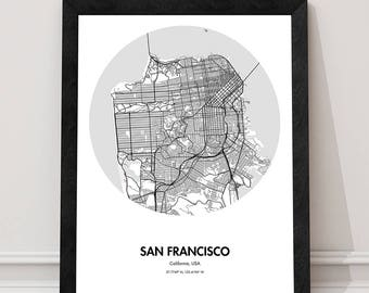 San Francisco Map Poster - 18 by 24 inch city map print -Gift ideas for Travelers - California City Map Prints - Black and White Home Decor