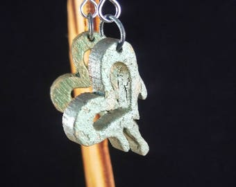 Melt with you laser cut earring green finish hand painted