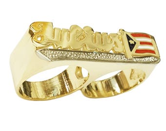 Lee176dc2-14K 11mm 14K Gold National Flag Two Finger Name Ring with Pave-cut Tail