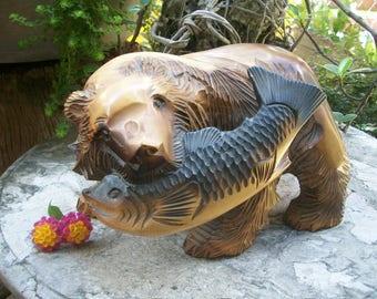 Japanese Indigenous Hokkaido Ainu People Huge Wood Carving of A Higuma Bear Holding A Salmon