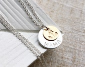 Silver and gold filled MAMA disc necklace. Handmade mixed metal necklace. Personalised necklace, monogram.