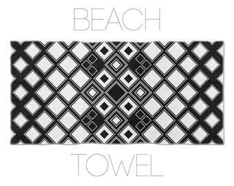Pool Towels, Geometric Art, Black And White Beach Towels, Original Towels, Unique Beach Towels, Printed Towels, Black Beach Towel