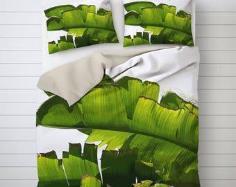 Banana Leaf Duvet Covers, Tropical Bedding, Illustration Art, Printed Duvet Cover, Banana Leaves Art, Beach House Decor