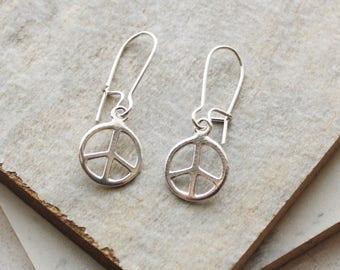 Peace Sign sterling silver drop earring charm earrings hypoallergenic ear wire simple minimal boho bohemian hippie gypsy gypset style