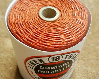 Crawford Waxed Linen Thread 7 Ply, 125 Gram Spool - LIGHT RUST