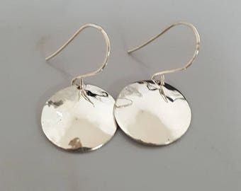 Handmade Sterling Silver Hammered Disk Earrings