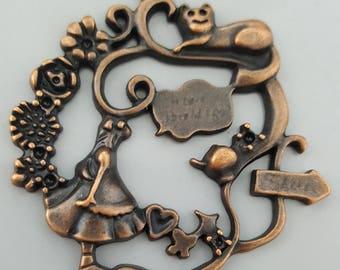 Alice in Wonderland Pendant, Set of 3, 40mmx40mm - Nickle Free Antique Bronze Finish