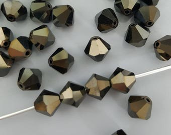 Swarovski 6mm Bicone Faceted Crystal Beads - HEMATITE - Select 10, 20 or 50