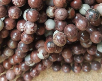"Natural Red Round Poppy Jasper Beads - 15.4"" Strand - Select 4mm or 8mm"