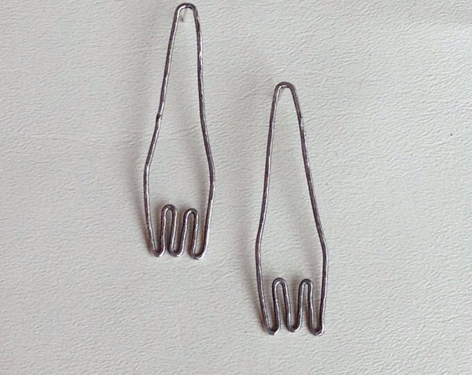 Unique abstract sterling silver post earrings oxidized