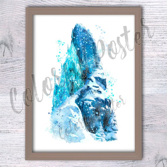 Disney Wall Decor elsa castle watercolor print disney wall decor disney castle