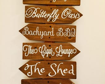 Custom Cursive Wood Sign, Brown Stained Wooden Welcome Sign, Personalized  Garden Art, Personalized