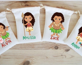 Moana Favor Bags Hawaiian Party Favors Personalized Party Gift Bags Loot Bags Goodie Bags Birthday Party Favors Luau Party Favors