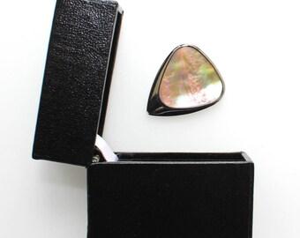 Inlay Tones Mini - Titanium Guitar Pick with Greenlip Abalone Inlay