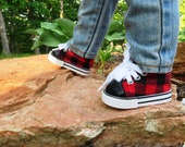 """Red and Black Plaid Sneakers  18"""" boy Doll shoes, Fits American girl dolls"""