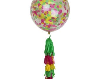 "Just Artifacts 36"" Jumbo Clear Balloon w/ Tissue Tassels & Confetti (Colors: Green, Fuchsia, Yellow)"