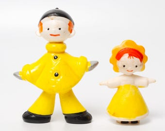 Vintage Russian Plastic Toy, the Pierrot from tale The Adventures of Pinocchio  and small girl (RT148)