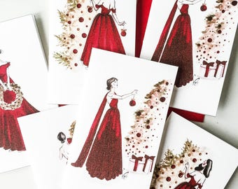 Set of Mixed Christmas Cards - Christmas card set, Christmas card, Xmas card set, Card Christmas, Holiday cards, Fashion cards