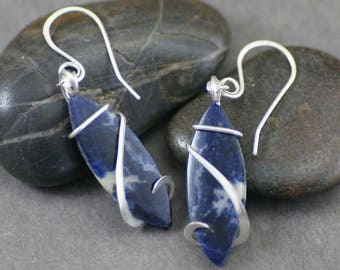 Dark Sodalite Marquise Cold Forged Sterling Silver Earrings