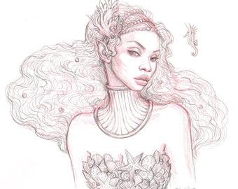 Queen of the Deep ORIGINAL Drawing
