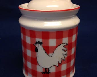 Rooster and Gingham Jam Jar/Condiment Container with Spoon