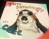 Adorable Porg Star Wars small love note valentine card