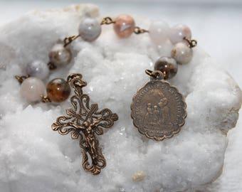 Our Lady of La Salette Catholic Pocket Rosary in Jasper, Solid Bronze-Lady La Salette Catholic Rosary-Handmade-Free Shipping