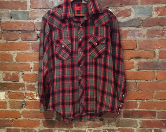 Vintage Big Mac Pearl Snap Flannel Shirt Large