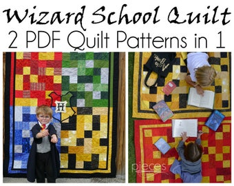 Wizard School Quilt Pattern - 2 Patterns in One - Single and 4-House Crest Quilt Patterns