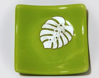 "Monstera Leaf Dish, Lemongrass Glass & Silver Foil fused glass plate, 4.5"" x 4.5"" fused glass plate, dessert dish, trinket dish"