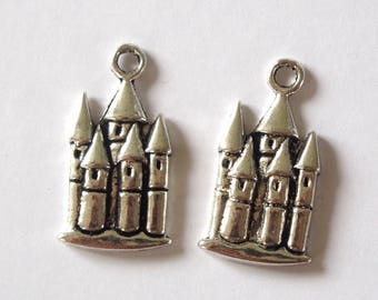 2 silver-plated 20x10mm Castle charms