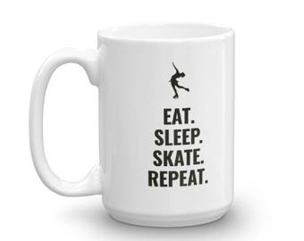 Eat Sleep Skate Repeat Figure Skaters Mug for Ice Skating