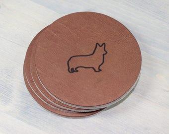 Corgi Leather Coasters 4 Pack