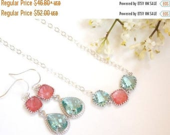 SALE Wedding Jewelry, Earrings and Necklace, Aqua and Coral , Erinite and Grapefruit, Set, Wedding Gifts, Bridesmaids Sets, Bridesmaid Gift,