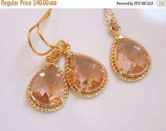 SALE Bridesmaid Jewelry, Peach Earrings and Necklace Set, Champagne, Blush, Gold Filled, Wedding Jewelry, Dangle, Bridesmaid Gift, Wedding G