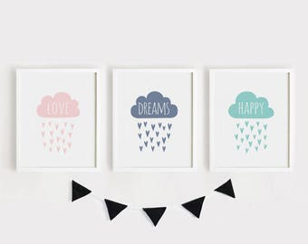 Digital print download - Love Dreams Happy Cloud Heart Rains Printable Nursery Art Set of 3 Poster Baby room Wall art Kids print Cute decor