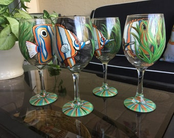 Butterfly Fish Wine Glass