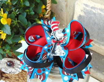 Cat In the Hat, Dr. Seuss Inspired Boutique Style Bow