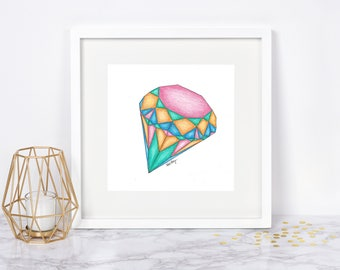 Geometric Rainbow Diamond, Wall Art - Original Drawing