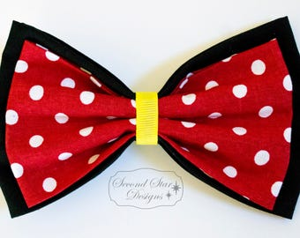Minnie Inspired // Version 2 // Interchangeable Bow for Mouse Ears Headband or Hair // Clip-on Bow Tie