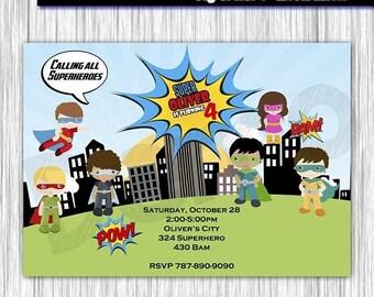 50% Off Super Hero Invitation, Birthday Party, Pop Art Superhero Invitation, Invite Card, Comics Pop art, Superheroes Invitation, SuperGirl