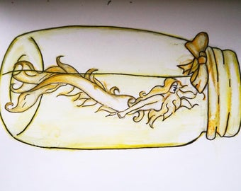 Mermaid in a Jar Original Painting