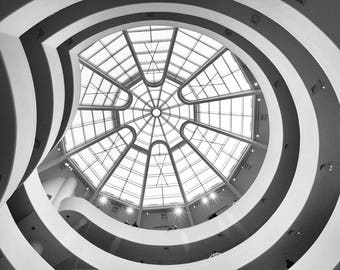 Guggenheim, New York Photography, Black and White, Guggenheim Museum, Ceiling, Window, NYC, Abstract, Architecture, Wall Art Print